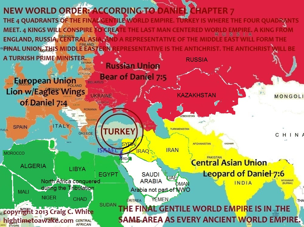 New World Order Map - Revelation 20 - 4 quadrants - Turkey