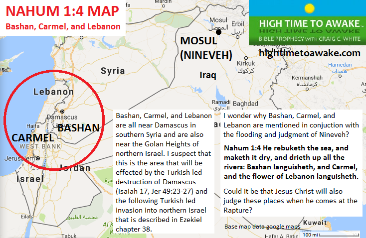 Bashan Carmel and Lebanon - Nahum 1:4 Map